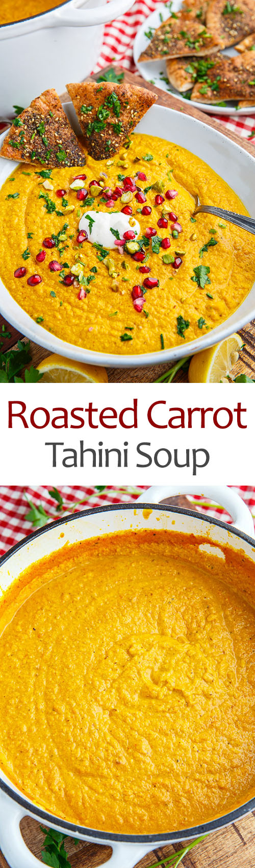 Roasted Carrot and Tahini Soup with Pomegranate and Pistachios