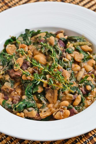 Mashed White Beans with Spinach and Olives