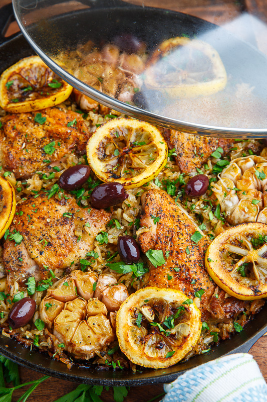 One Pan Greek Lemon Chicken Rice with Roast Garlic