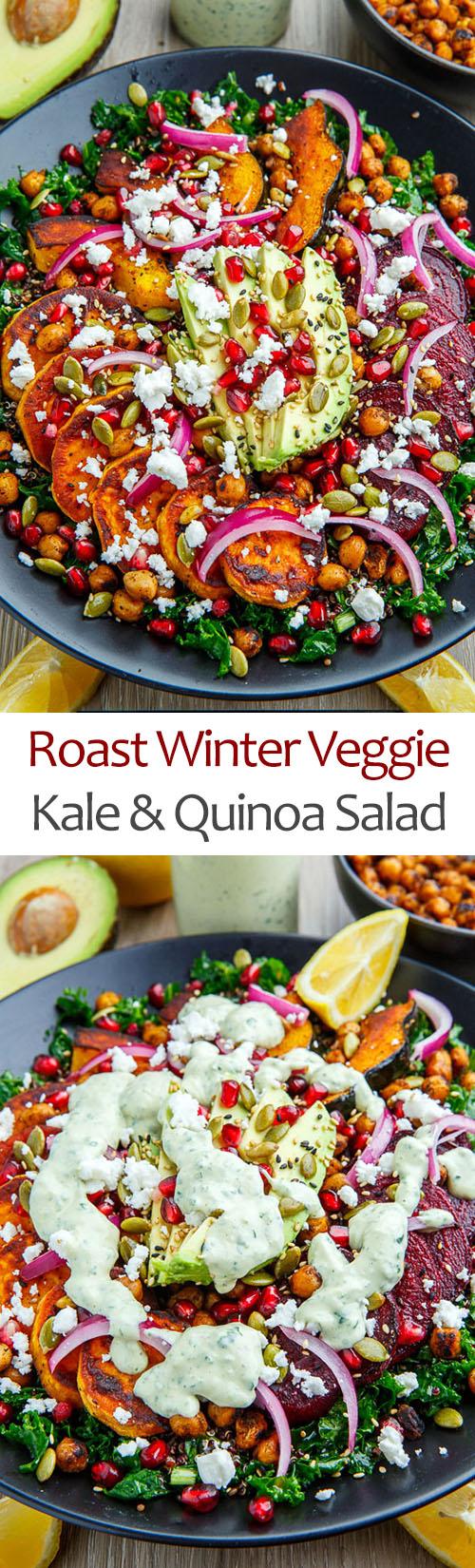 Roast Acorn Squash, Sweet Potato and Beet Kale and Quinoa Salad with Avocado, Feta and Pomegranate in a Cilantro Lemon Tahini Dressing