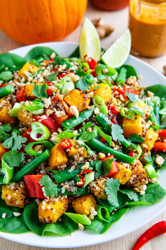 Roasted Pumpkin and Green Bean Quinoa Salad in Thai Peanut Dressing