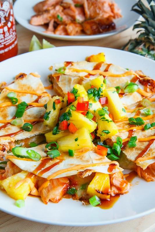Teriyaki Salmon and Pineapple Quesadillas