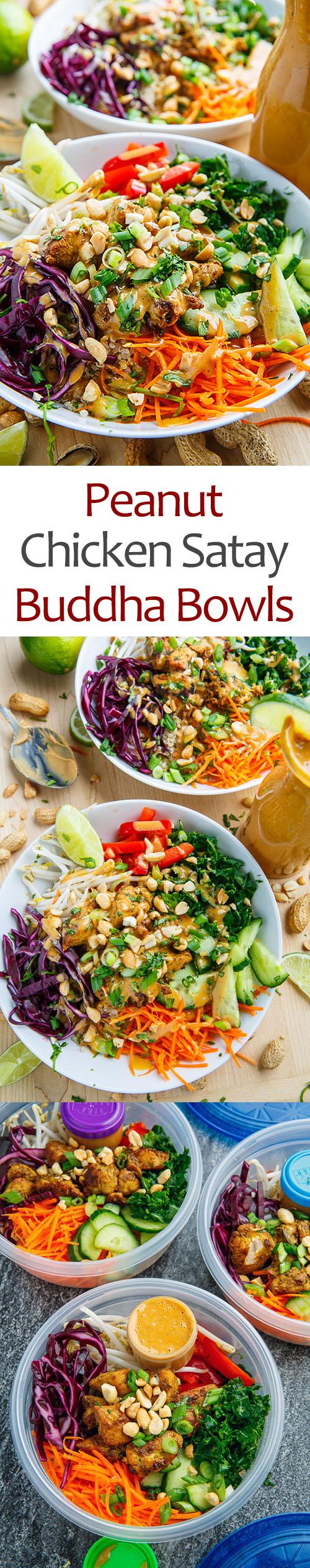 Thai Peanut Chicken Buddha Bowls - Meal Prep