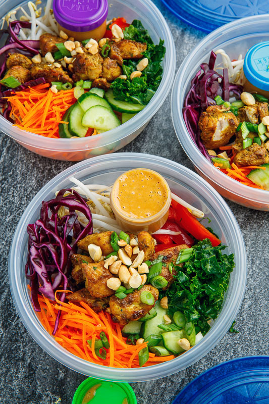 Thai Peanut Chicken Buddha Bowls