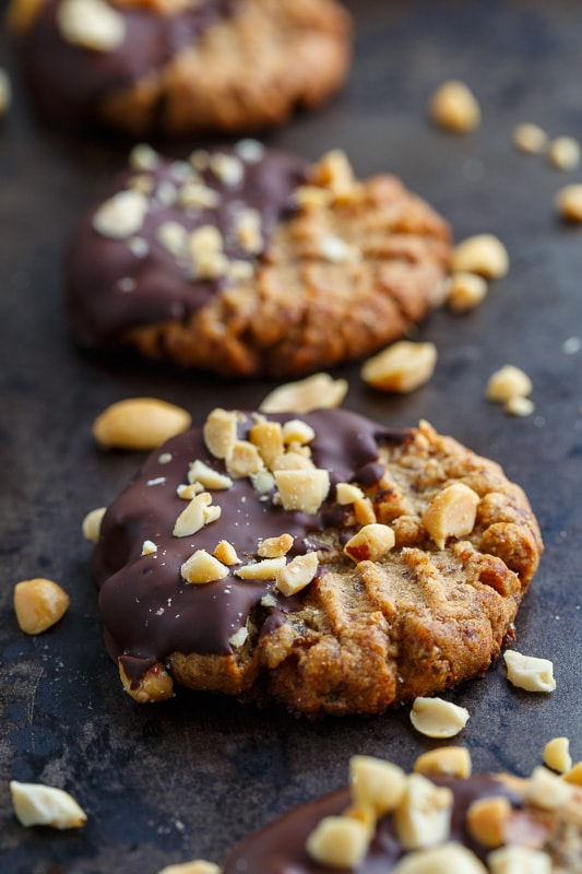 4 Ingredient Dark Chocolate Dipped Peanut Butter Cookies