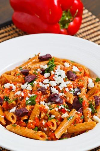 Roasted Red Pepper Pesto Pasta with Kalamata Olives and Feta