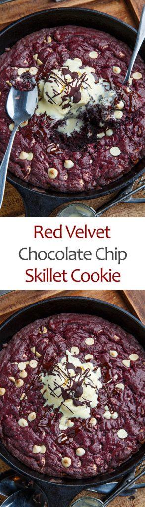Red Velvet White Chocolate Chip Skillet Cookie