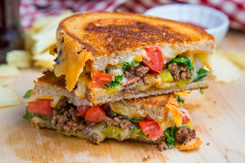 Bacon Double Cheeseburger Grilled Cheese Sandwich