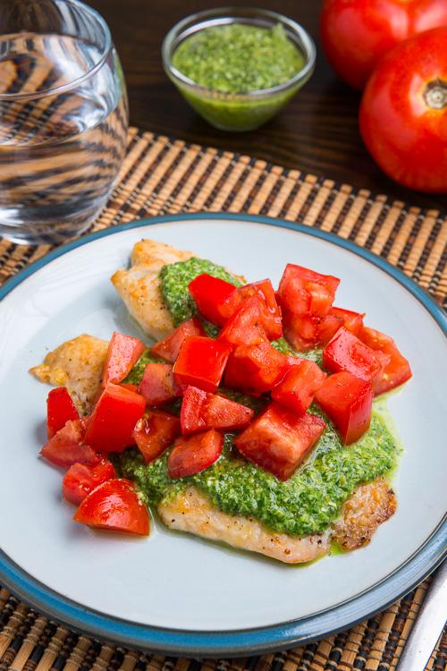 Parmesan Crusted Pesto Tilapia Bruschetta