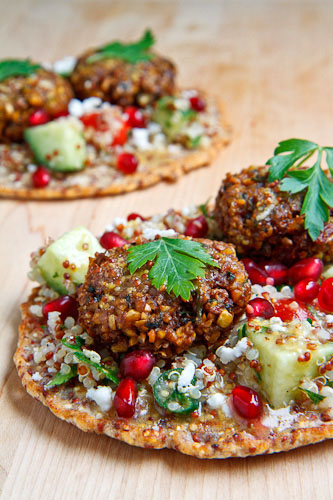 Quinoa Flatbread with Tabbouleh, Falafel, Feta and Pomegranate