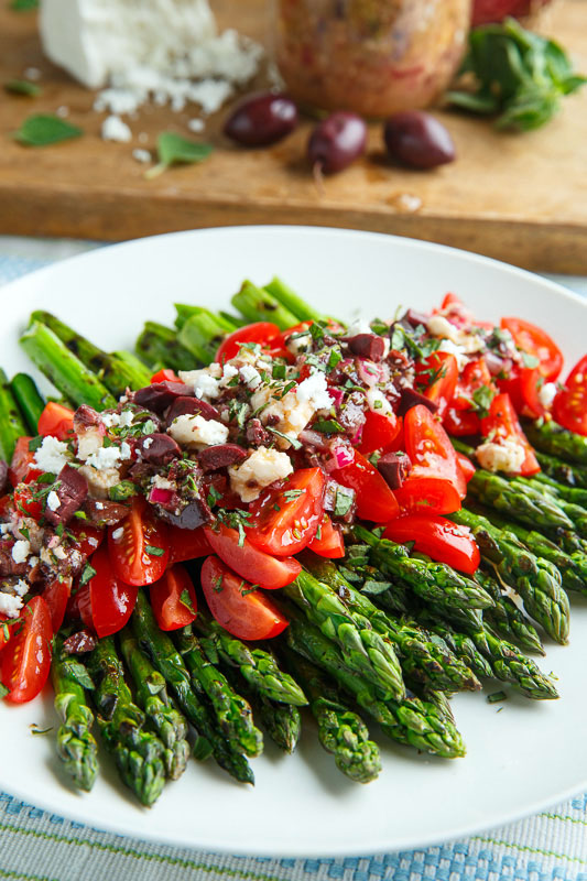 Grilled Asparagus and Tomatoes in a Kalamata Olive and Feta Vinaigrette