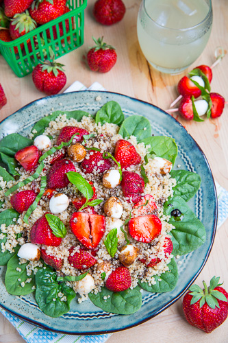 Strawberry Quinoa and Spinach Caprese Salad