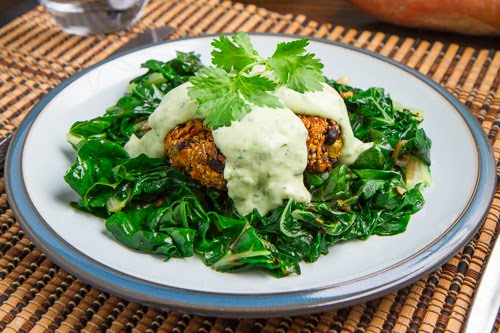 Baked Chipotle Sweet Potato and Black Bean Quinoa Cakes with Creamy Avocado Sauce