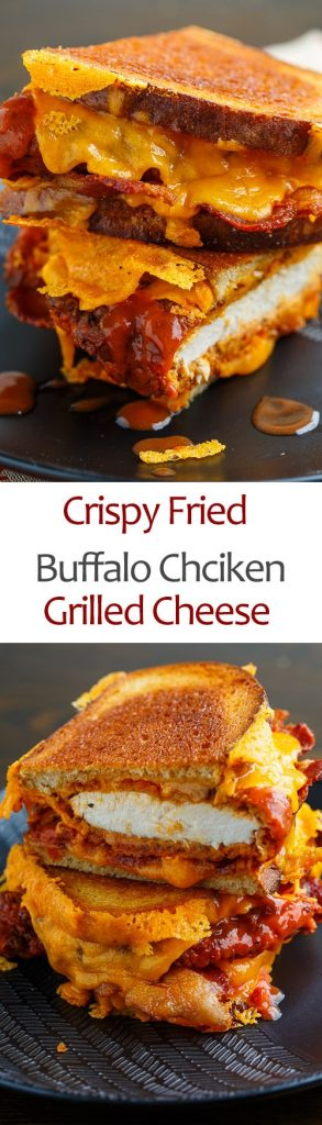 Crispy Fried Buffalo Chicken Grilled Cheese Sandwich