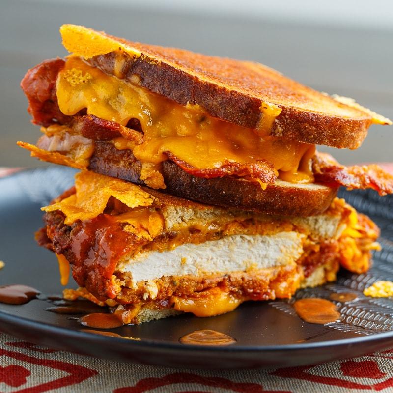 Crispy Fried Buffalo Chicken Grilled Cheese Sandwich
