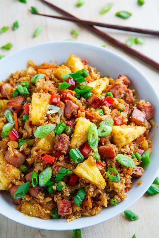 Ham and Pineapple Fried Cauliflower Rice