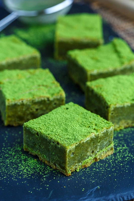 Matcha Green Tea White Chocolate Blondies