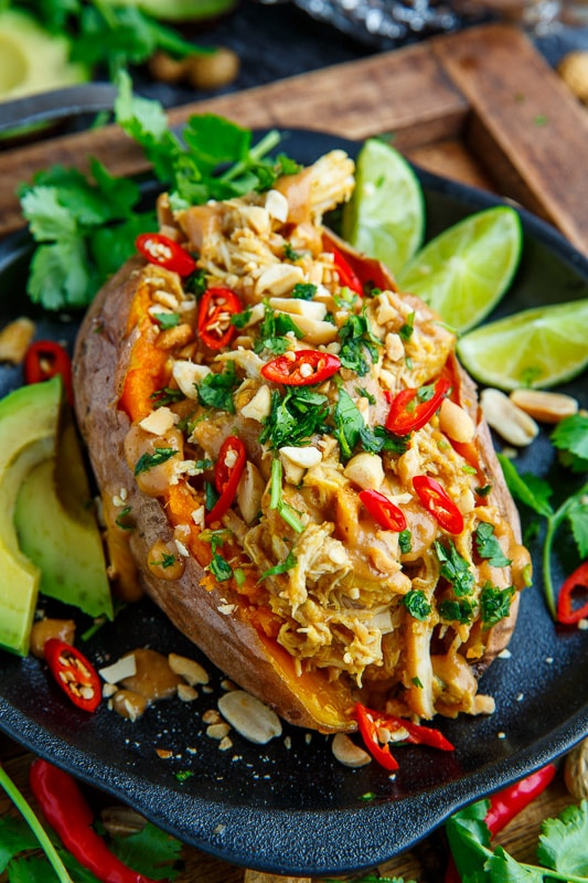 Slow Cooker Peanut Chicken Sweet Potato Boats