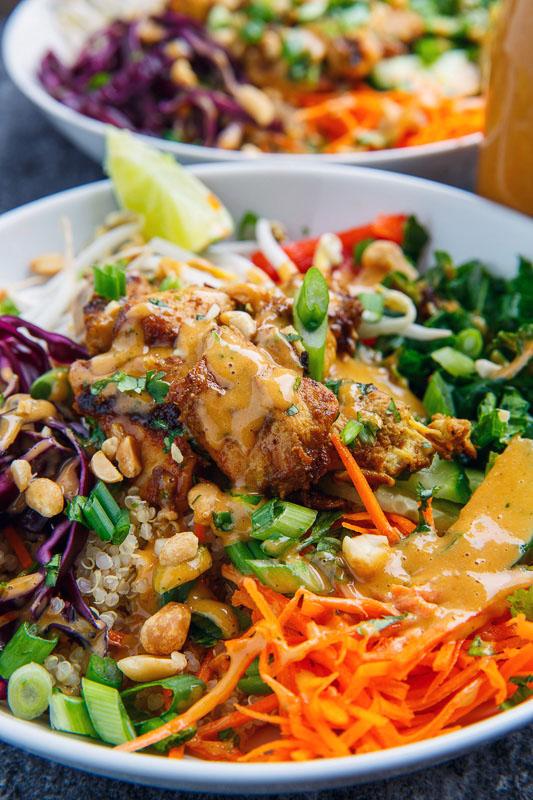 Thai Peanut Chicken Buddha Bowls
