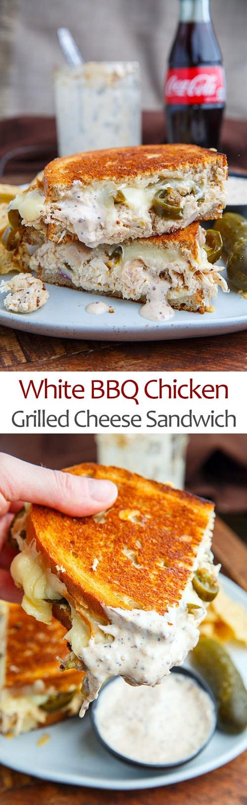 White BBQ Chicken Grilled Cheese Sandwich