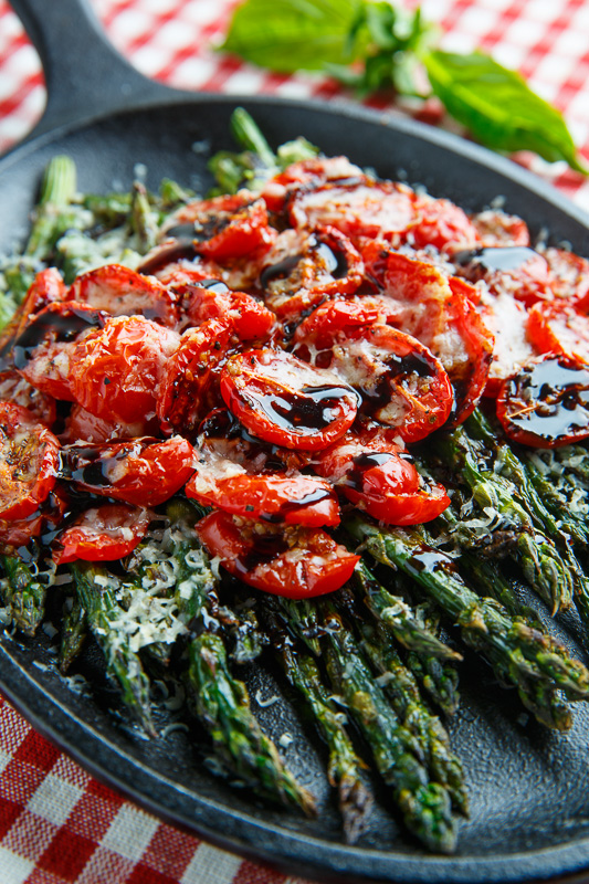 Balsamic Parmesan Roasted Asparagus and Tomatoes Recipe