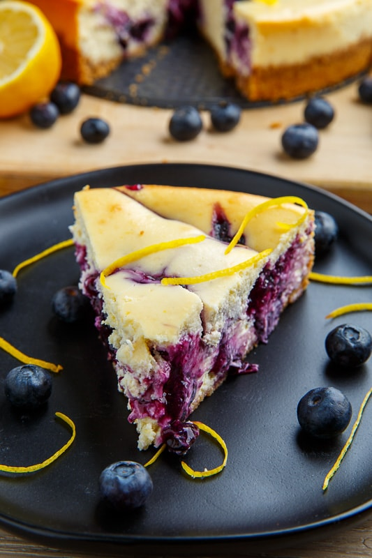 Blueberry Swirl Lemon Cheesecake