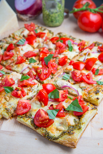 Bruschetta Chicken Pesto Tart