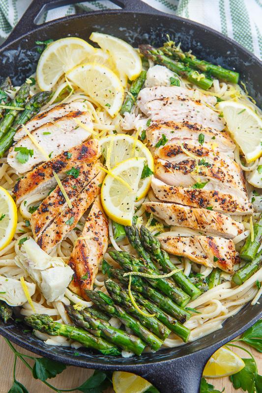 Creamy Lemon Grilled Chicken, Asparagus and Artichoke Pasta Recipe
