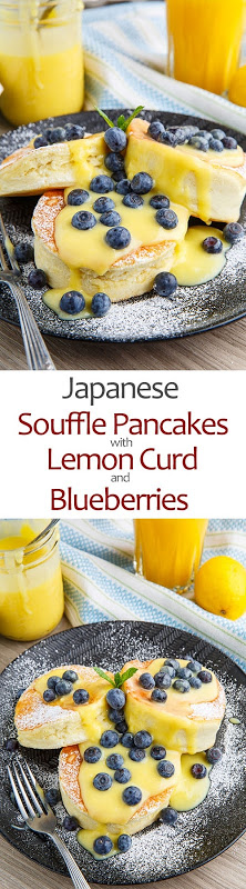 Japaese Souffle Pancakes with Lemon Curd and Blueberries