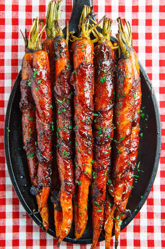 Maple Glazed Bacon Wrapped Roasted Carrots Recipe