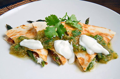 Roast Asparagus and Caramelized Mushroom Quesadillas with Goat Cheese Recipe