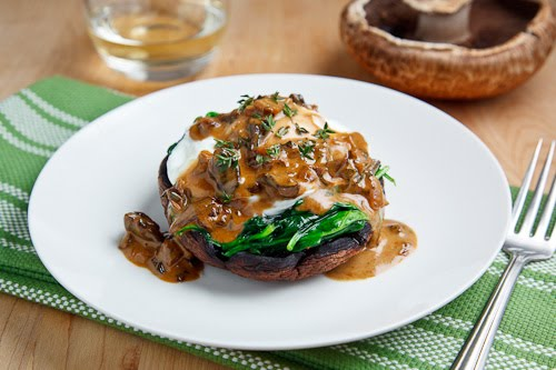 Roasted Portobello Mushrooms with Poached Eggs in a Creamy Mushroom Sauce