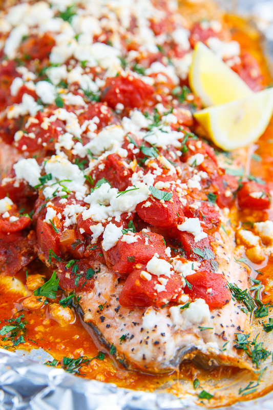 Salmon in a Tomato and Feta Sauce (aka Salmon Saganaki) Recipe