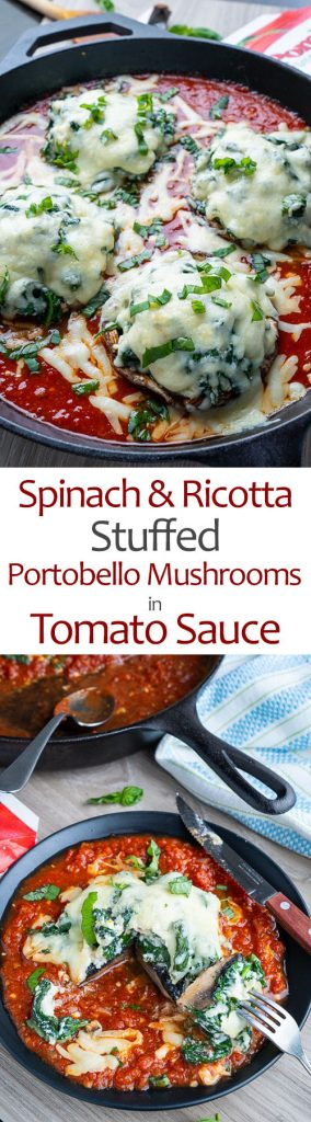Spinach and Ricotta Stuffed Portobello Mushrooms in Tomato Sauce