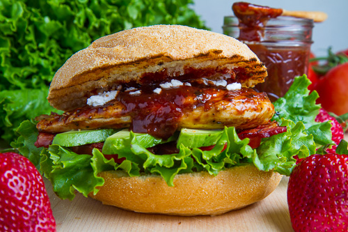Strawberry BBQ Chicken Club Sandwich with Bacon, Avocado and Goat Cheese Recipe