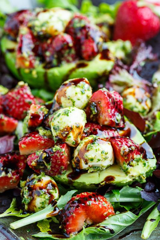 Strawberry Caprese Stuffed Avocados with Pistachio Pesto Recipe