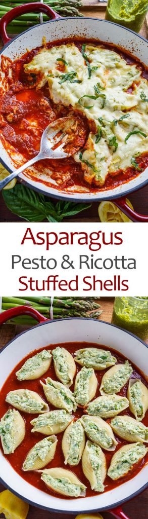 Asparagus Pesto and Ricotta Stuffed Shells