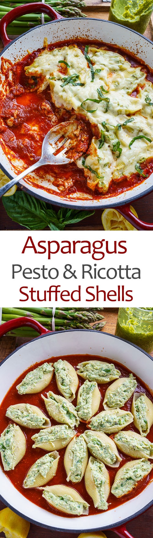 Asparagus Pesto and Ricotta Stuffed Shells