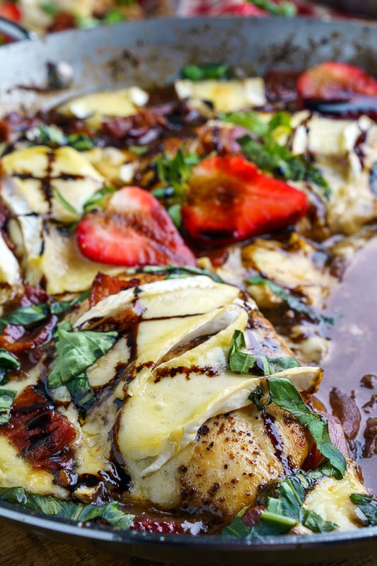 Pan Seared Balsamic Strawberry Chicken and Brie