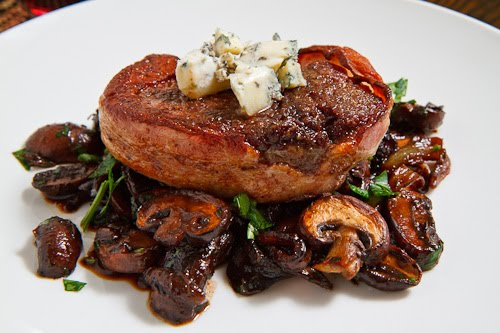 Double Smoked Bacon Wrapped Filet Mignon with Caramelized Mushrooms
