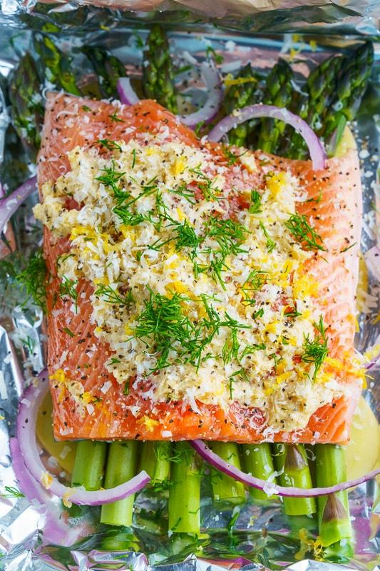 Lemon Miso Butter Parchment Salmon with Asparagus