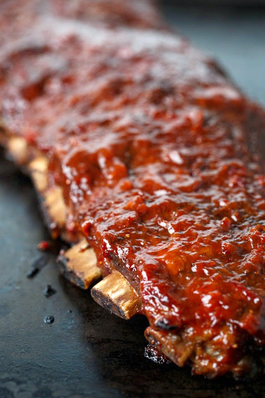 Slow Cooker BBQ Ribs with Roasted Strawberry BBQ Sauce