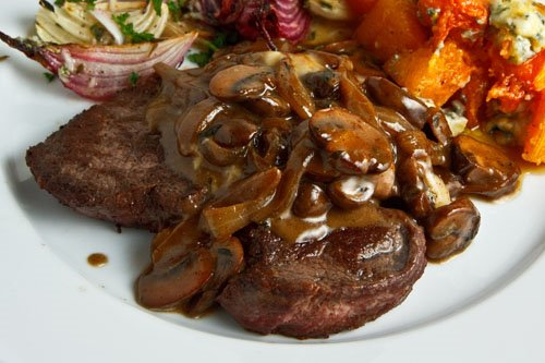 Steak Tenderloin in a Mushroom and Blue Cheese Sauce
