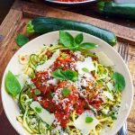 Zucchini Turkey Meatballs in Marinara on Zoodles