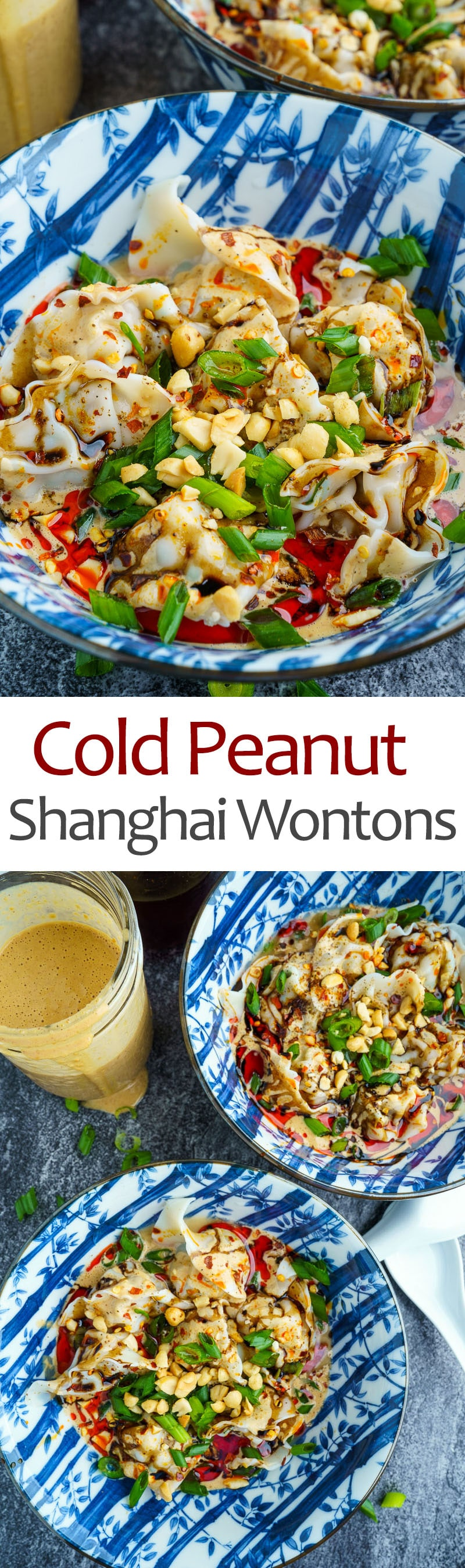 Cold Shanghai Wontons in Peanut Sauce and Chili Oil