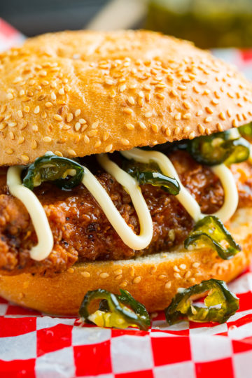 Jalapeno Honey Drenched Crispy Fried Chicken Sandwich