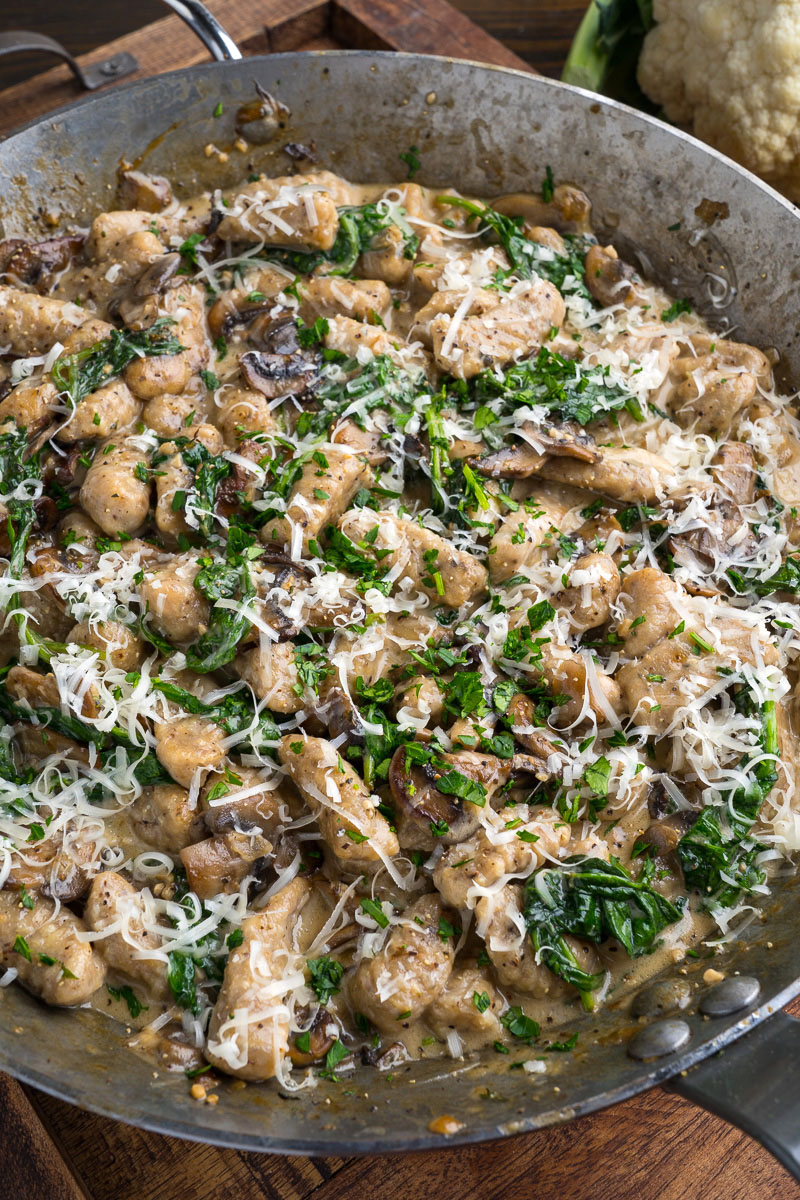 Cauliflower Gnocchi in Asiago Mushroom and Spinach Sauce