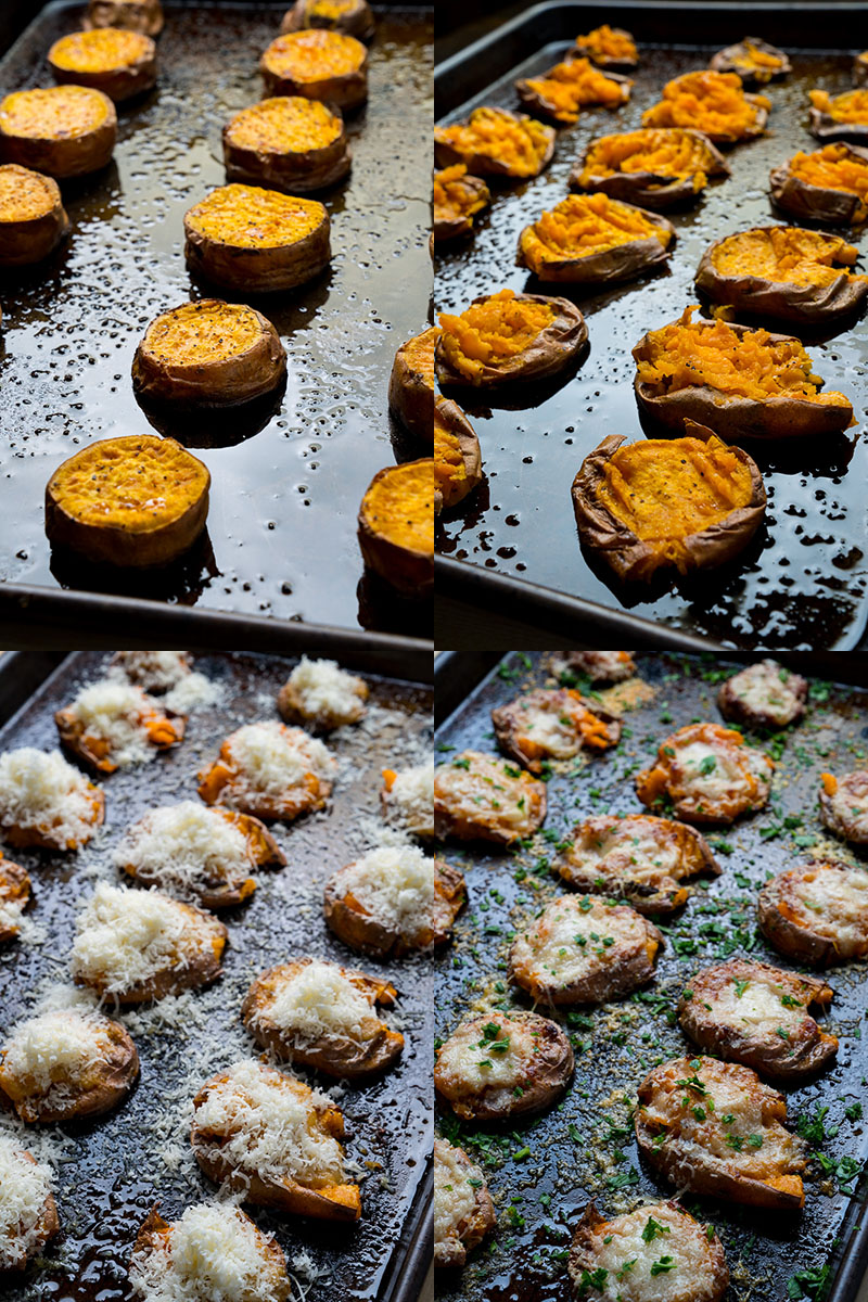 Parmesan Garlic Miso Butter Smashed Sweet Potatoes