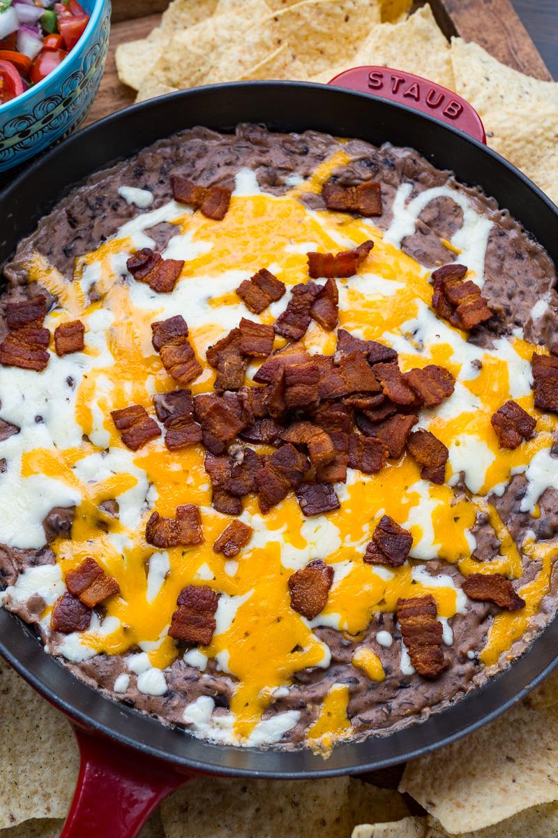 Cheesy Bacon Black Bean Dip