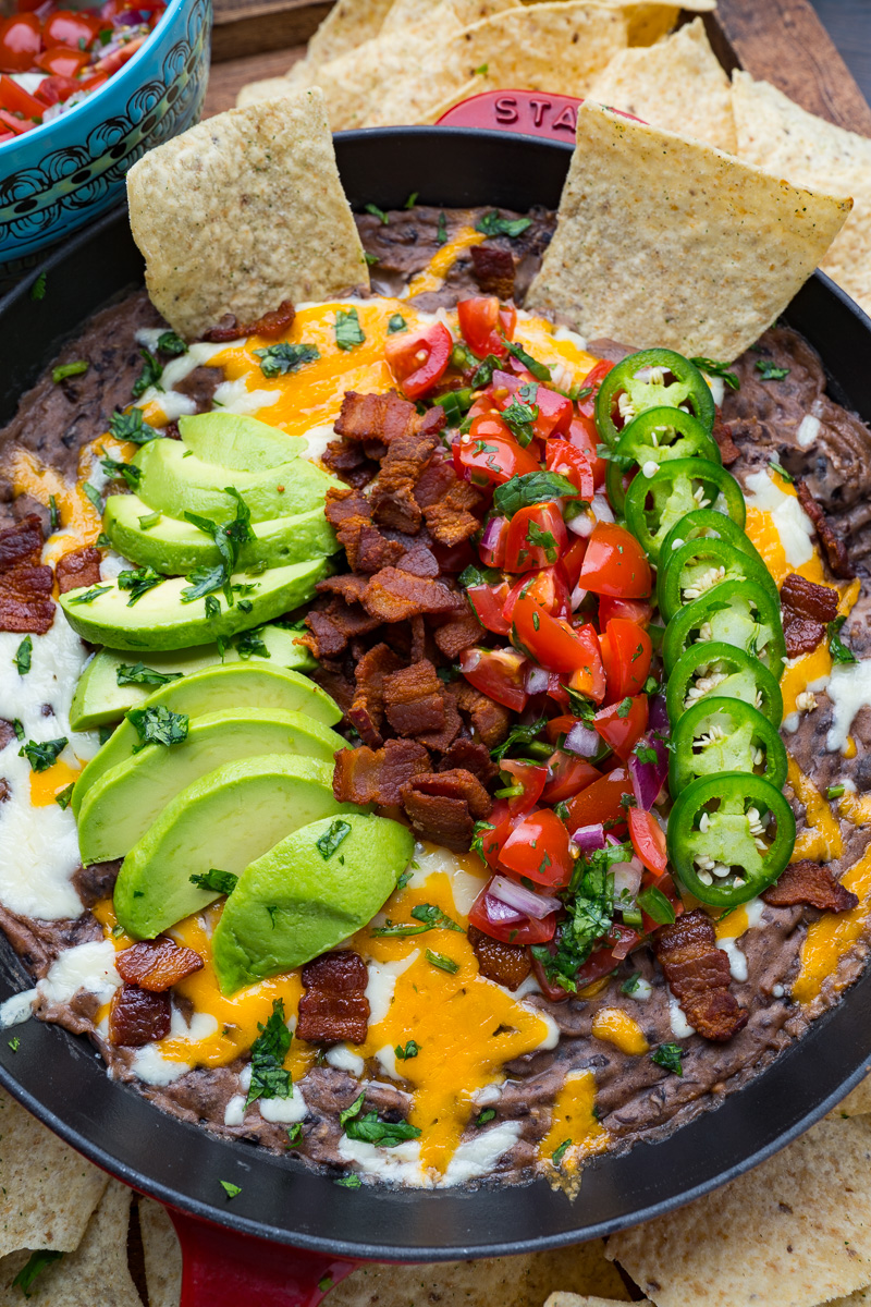 Cheesy Bacon Black Bean Dip